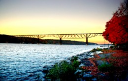 The Poughkeepsie Railroad Bridge at Sunset in Fall.