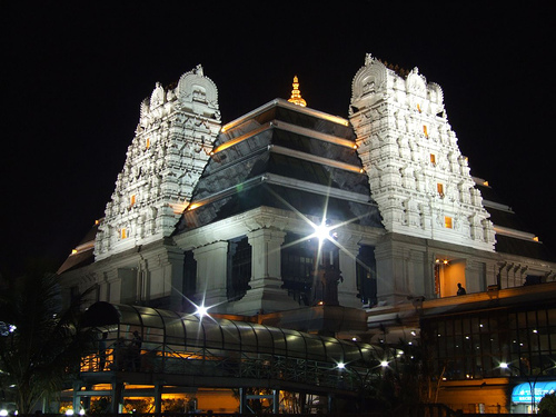 Iskcon Temple of Lord Krishna in Delhi - Night view