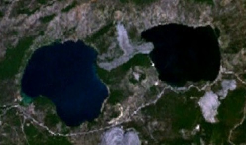 Public domain photo - East Lake is the lake on the right