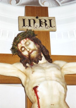 Hand carved statue of Jesus inside the church