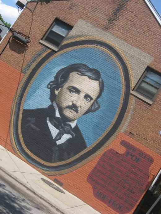 mural of Edgar Allan Poe across the street from his house