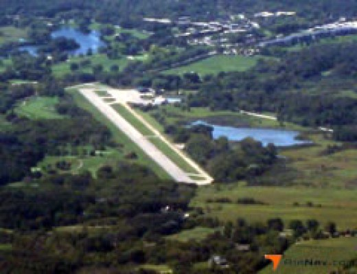Grand Geneva airport run way aerial view