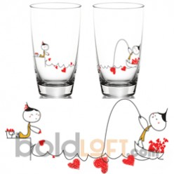 """""""My Heart is Yours to Catch"""" Matching Drinking Glass Set"""