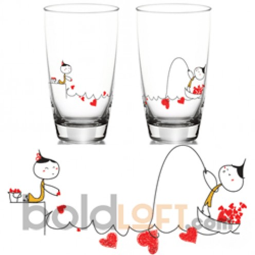 """My Heart is Yours to Catch"" Matching Drinking Glass Set"