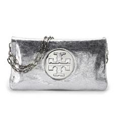 Tory Burch Silver Reva Clutch Bag