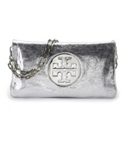 Tory Burch Silver Reva Clutch Bag