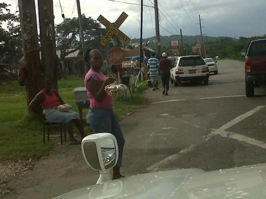 Vendors at the Clarendon Park Railway crossing.