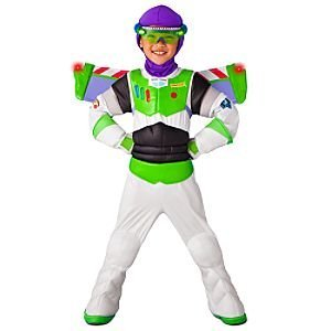 Deluxe Light Up Buzz costume. Space Ranger vinyl 'chestplate' in front with attached wings in back features self-stick fabric closure. Press a button on the wings to see them light up!