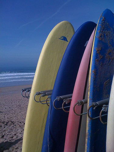 Learn to Surf in Newquay.  Surfboards on Fistral.