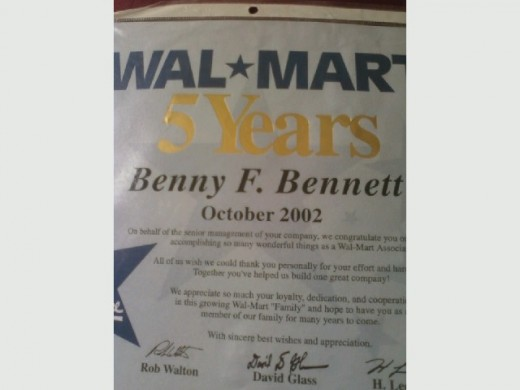 Here is proof of my five years of dedicated and hard work for Wal Mart Super Center.