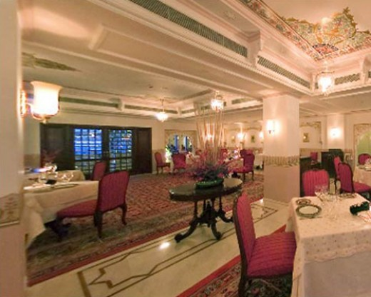 An inside view of a restaurant of Taj Lake Palace