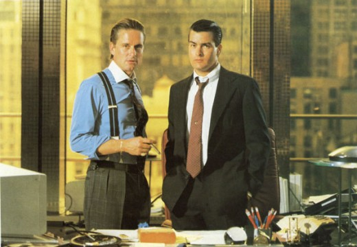 Michael Douglas and Charlie Sheen in Wall Street