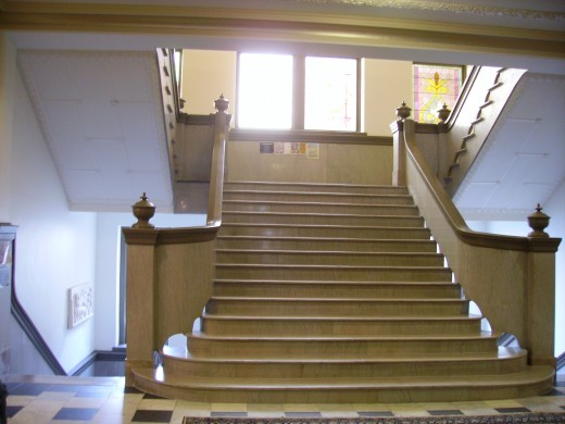 The staircase, after being restored