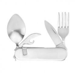Silver Hobo Tool Camping Utensil Knife Fork Spoon Can Opener