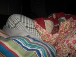 Aunt Sara in Memaw's bed