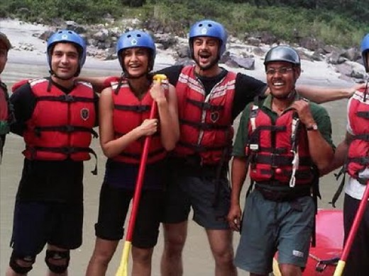 Expedition team at Shivpuri featuring Sonam Kapoor, Indian film actress.