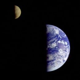 The Earth-Moon system in half-phase, from the Galileo probe.  Image courtesy NASA and Wikipedia.