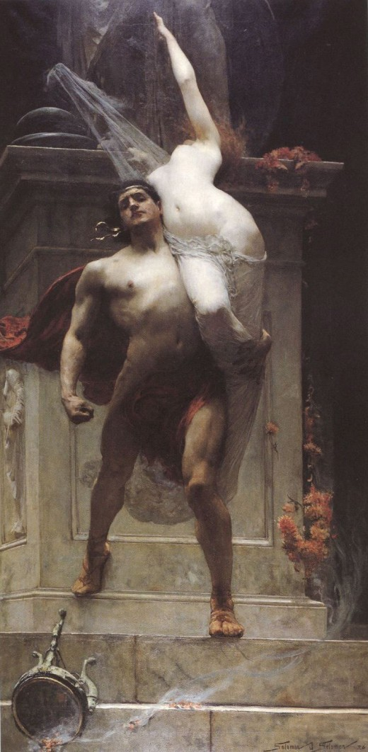"Solomon Joseph Solomon's 1886 ""Ajax and Cassandra.""  Cassandra, possessed of the gift of prophecy, was cursed by Apollo always to be disbelieved; thus, she could do nothing to avert her rape, enslavement and eventual murder."