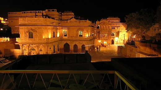 Outside view of glowing Shahi Palace Hotel in Jaisalmer