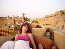 Carme at rooftop restaurant of Hotel Shahi Palace in Jaisalmer