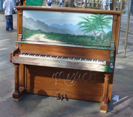 One of the 16th Street Mall painted pianos.