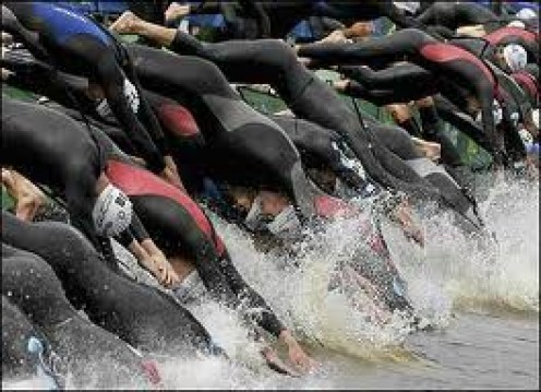 The start of a big triathlon event