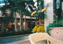 View of entertainment at The Hawaiian Hilton Village while sipping a delicious chocolate martini.