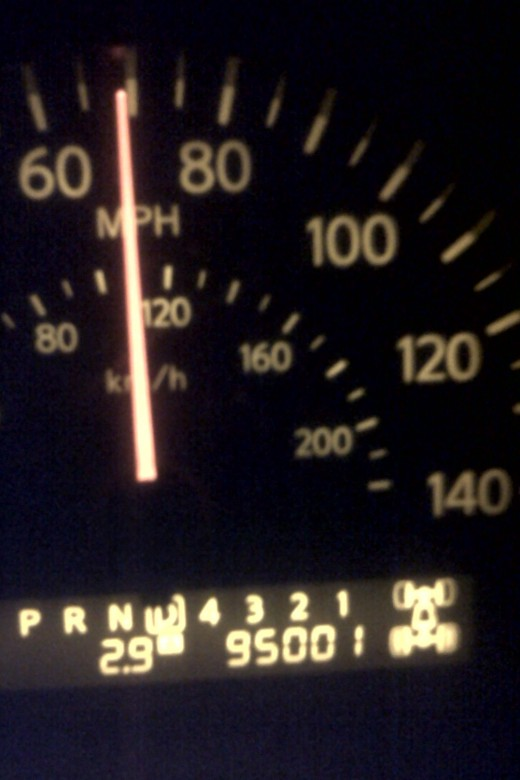On my way home from dropping off Chris after watching the UT game, my truck rolled over to the 95,000 mile mark.  It took a solid mile to get a non-blurry picture with my phone, hence the 95,001