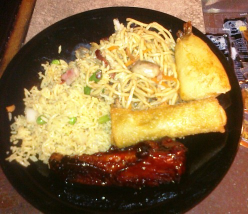 Egg Roll, Pork fried Rice, Lo Mein, deep Fried Shrimp and Spare Rib