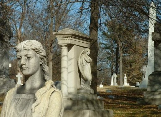 Calvary Cemetery in St Louis Missouri where many of the victims of the Cholera Epidemic of 1849 are buried in mass graves.