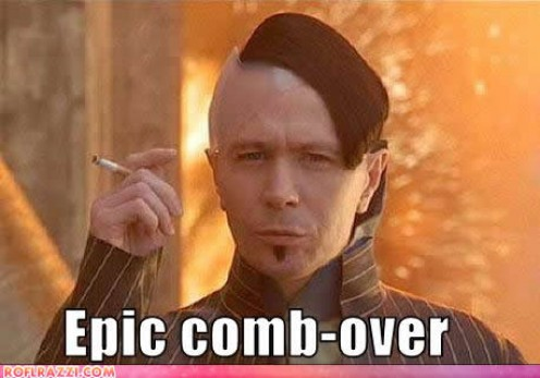 Gary Oldman in a souped up contempory comb- over with Hitlerian aspects
