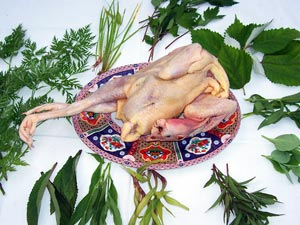 Whole chicken, lemon grass and herbs