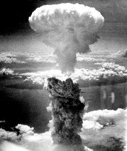 One of the first atomic bombs used in warfare, creating a blinding flash over the skies of Nagasaki, Japan, in 1945. Ever a symbol of the end of the world.