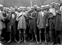 Victims of the holocaust upon liberation in 1945. Malnourished prisoners at the Mauthausen camp, Austria. Not enough wickedness for Noah's Flood.