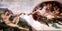 The creation of Adam by God, long before Noah's Flood.