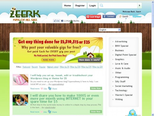 Move over Fiverr!  Zeerk pays for gigs on the same day projects are completed!  Join free today.