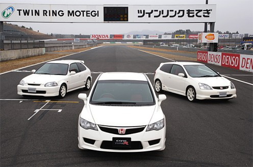 3 JDM Civic Type-Rs Left: EK9 (97-2000), Middle (EP3 Pre Facelift 2002-4), FD2 (2007-)