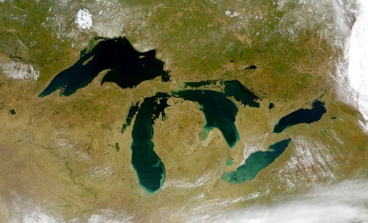 The GREAT LAKES of Canada/USA-A rare satellite view of a cloudless summer day over the entire Great Lakes region, August 2010.(Provided by the SeaWiFS Project, NASA/Goddard Space Flight Center, and ORBIMAGE.)