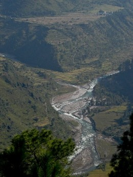 Fusion of River Ganges and Bhagirathi on the road route to Harshil.