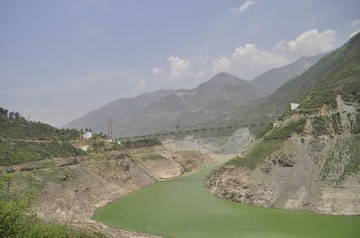 Backside view of Tehri Gharwal Dam in Uttaranchal