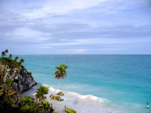 overlooking the beach below the Mayan Ruins of Tulum, Mexico