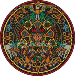 This is a rendition of the famed Aztec sun stone. This is a calendar that the Aztecs used for timing and prophetic ends.
