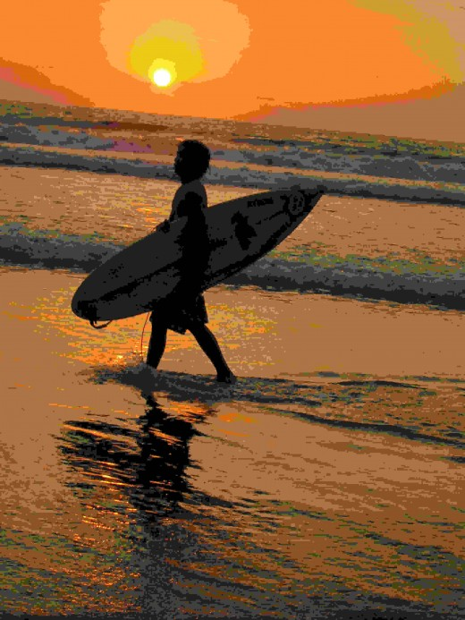 Surfer on Kuta Beach, Bali