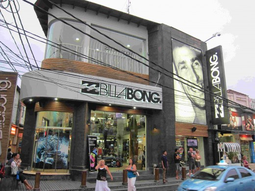 Boutique shops along Legian and Kuta