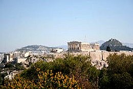 Athens and the Parthenon atop the Acropolis.