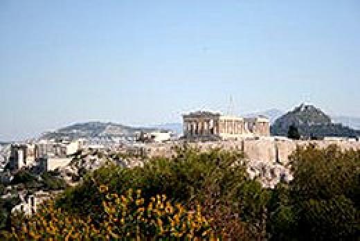 Athens and the Parthenon atop the Acropolis.