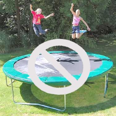 This is not safe!  Either jumper could land on the spring pad or fall off of the trampoline.