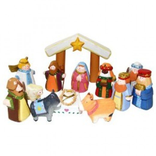 Child's wooden nativity set