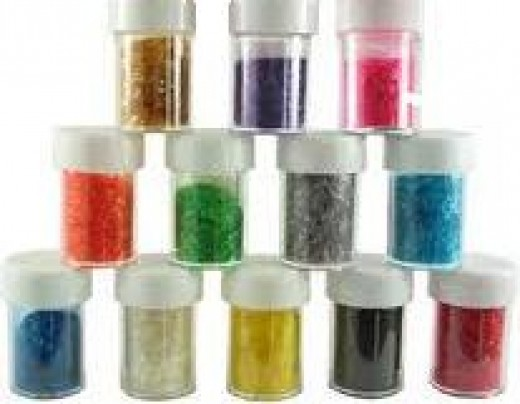 Edible glitter comes in several colors, varied shades from different companies.