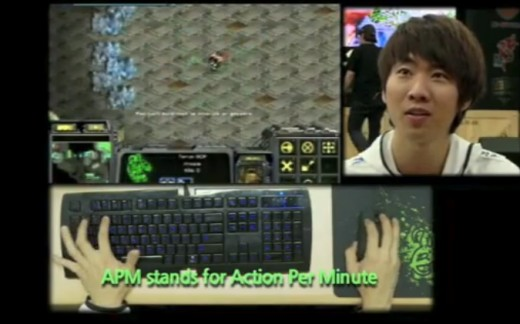 Korean APM Demonstration from documentary on Korean ProGamers, note the Razer Keyboard, Razer Mouse and Razer Mousepad as he hits 250ish APM!
